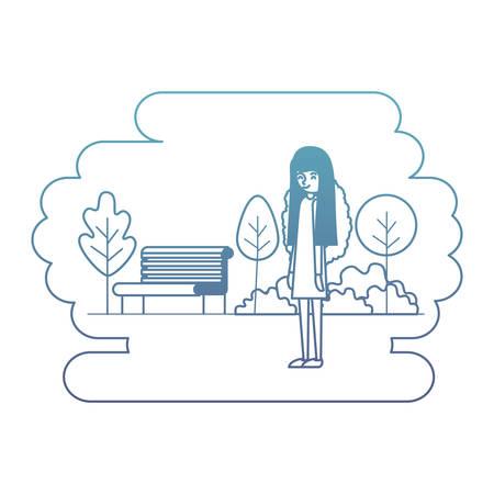woman in the park scene vector illustration design 矢量图像