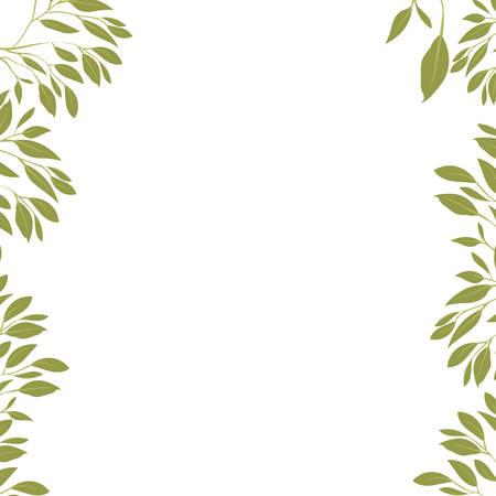 branch with leafs ecology frame vector illustration design Illustration