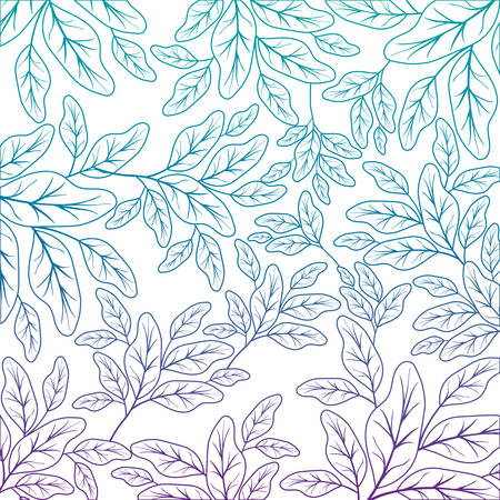 branch with leafs ecology pattern vector illustration design Illustration