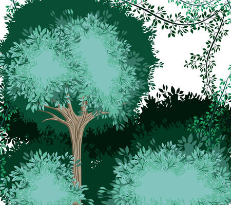 forest scene painted watercolor style vector illustration design Illustration