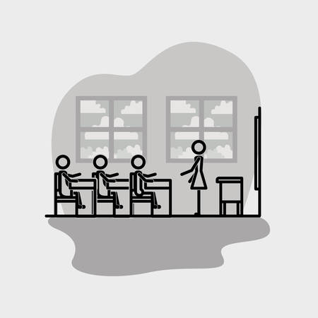 group of students linear figure vector illustration design Illustration