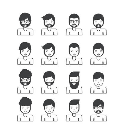 group of young men characters vector illustration design