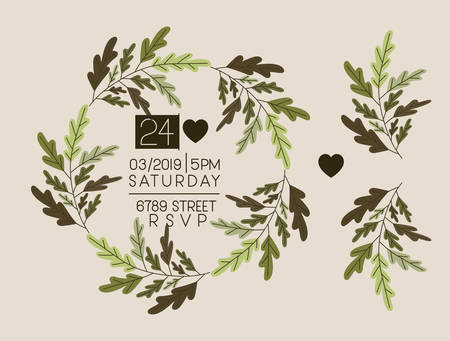 invitation card with heart and floral crown vector illustration design Ilustração