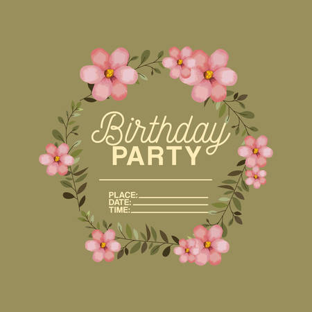 birthday party invitation with floral crown vector illustration design