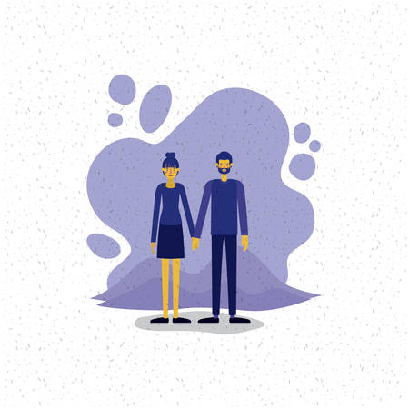 young couple outside scene avatars characters vector illustration design 矢量图像