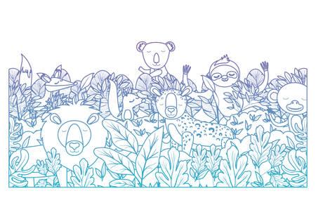 wild animals in the jungle scene vector illustration design Ilustração