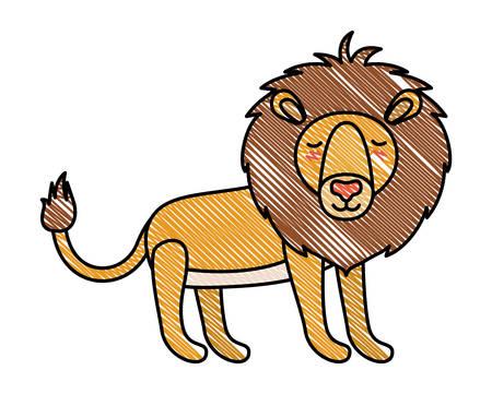 León salvaje animal aislado diseño ilustración vectorial