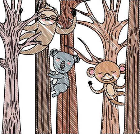 wild animals in the forest scene vector illustration design