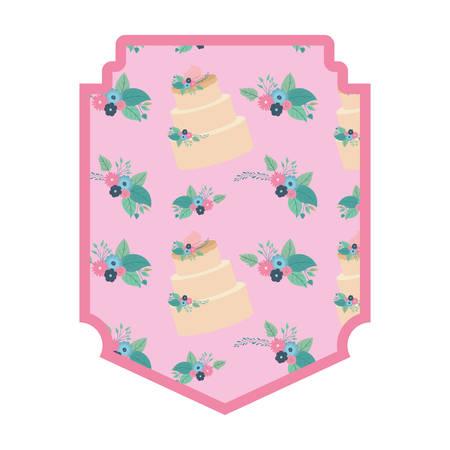elegant frame with flowers and cake pattern pattern vector illustration design