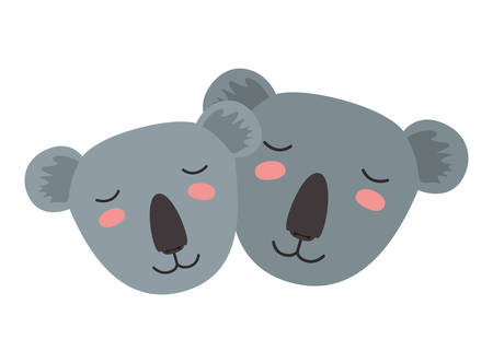 wild koalas couple heads vector illustration design