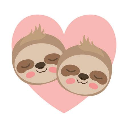 wild sloths couple in heart vector illustration design