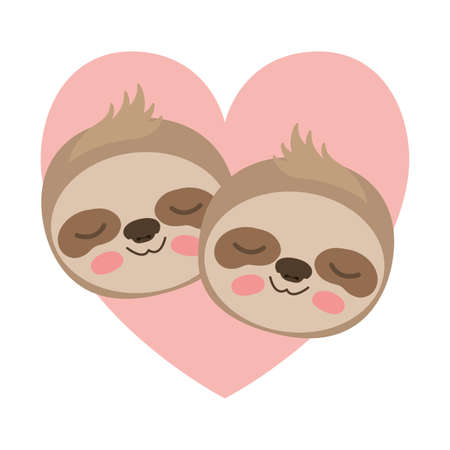 wild sloths couple in heart vector illustration design