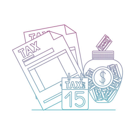 tax document with money and calendar vector illustration design