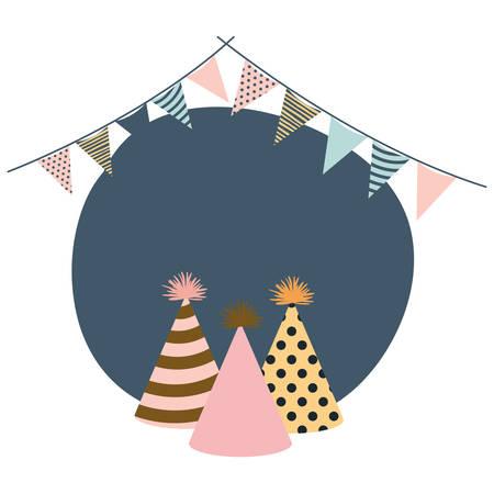 frame party celebration hats and garlands vector illustration design