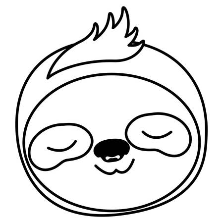 wild sloth animal head vector illustration design