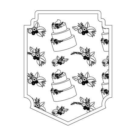 elegant frame with flowers and cake pattern vector illustration design