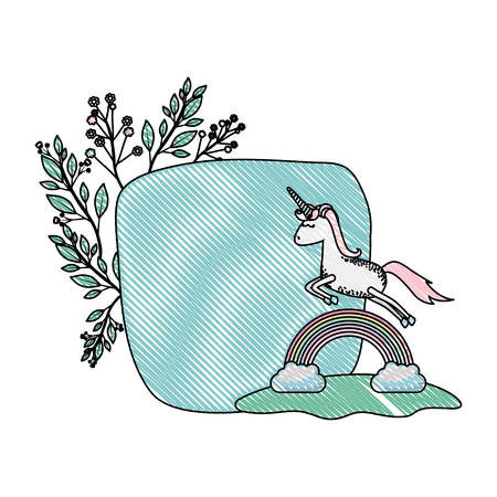 unicorn with rainbow and floral decoration vector illustration design