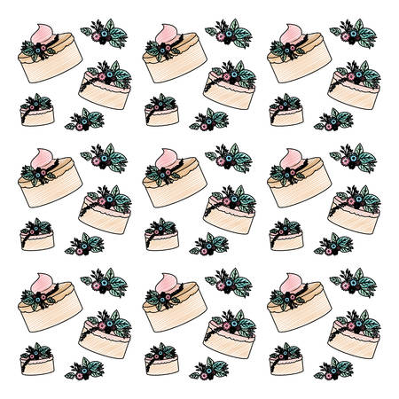 beautiful flowers and leafs with cake pattern vector illustration design