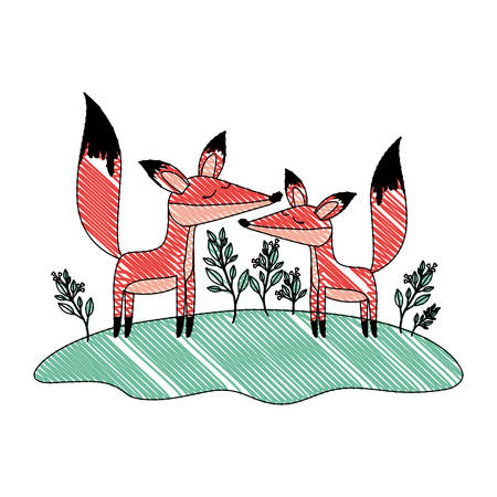 wild foxes couple in the jungle vector illustration design
