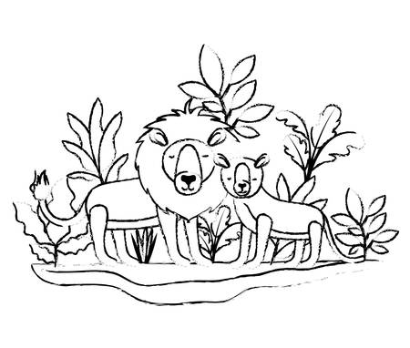 wild lions couple in the jungle vector illustration design Vector Illustratie