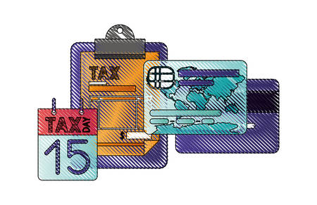 clipboard taxes with calendar and credit card vector illustration design