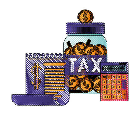 jar taxes with calculator and document vector illustration design