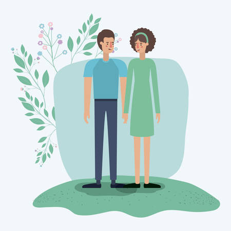 lovers couple in the grass with leafs frame vector illustration design