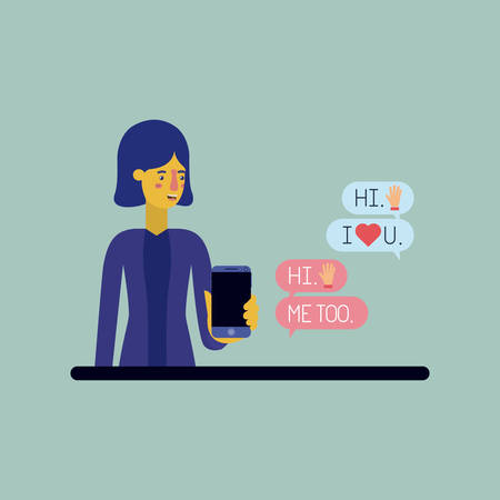 woman chating with smartphone and set speech bubbles and emoticons Illustration