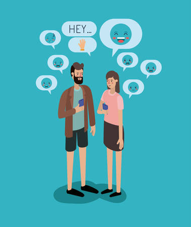 couple chating with smartphone and set speech bubbles and emoticons
