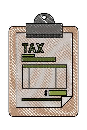 clipboard with tax document vector illustration design Vektorové ilustrace