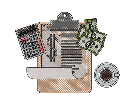 clipboard taxes with calculator and bills vector illustration design