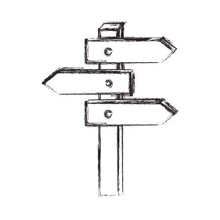 Ruta de flechas de madera, diseño de ilustraciones vectoriales de señal Ilustración de vector