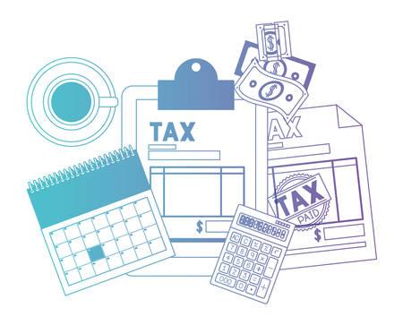 clipboard taxes with calculator and bills vector illustration design Vektorové ilustrace