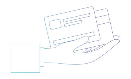 hand with credit cards vector illustration design