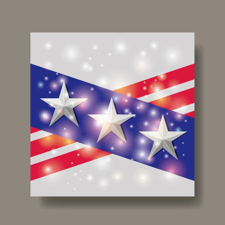 united states of america emblem with silver stars Illustration