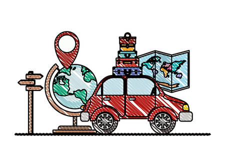 paper map with travel around world icons vector illustration design