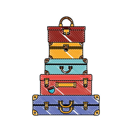 suitcases bags pile isolated icon vector illustration design Иллюстрация