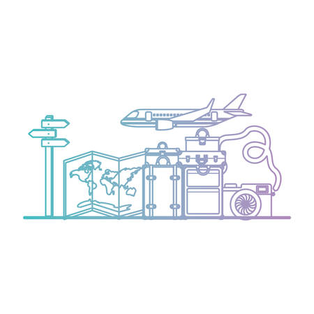 airplane flying with travel set icons vector illustration design