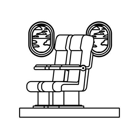 airplane chair with window vector illustration design