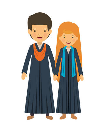 couple graduates avatars characters vector illustration design 向量圖像
