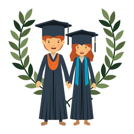 couple graduates with wreath crown vector illustration design