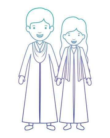couple graduates avatars characters vector illustration design