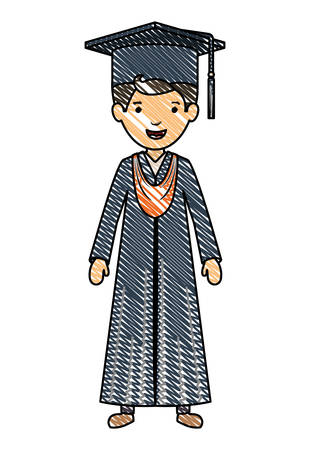 young boy graduate character vector illustration design