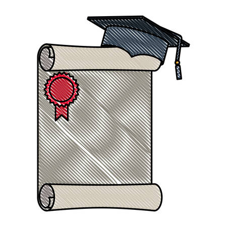 hat graduation with diploma vector illustration design Vettoriali