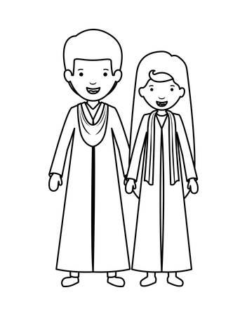 couple graduates avatars characters vector illustration design  イラスト・ベクター素材