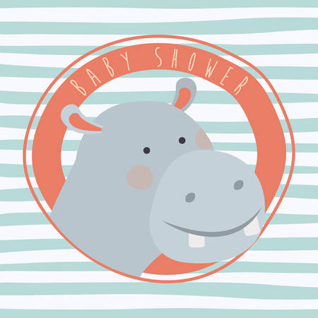 baby shower card with cute hippo vector illustration design