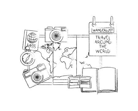 Mapa de papel con viajes alrededor del mundo, diseño de ilustraciones vectoriales iconos
