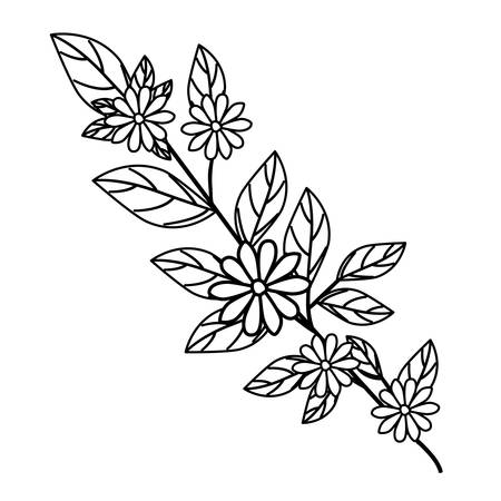 beautiful flower and leafs garden vector illustration design