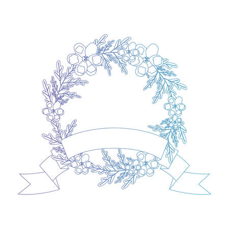 beautiful flower and ribbon circular frame vector illustration design