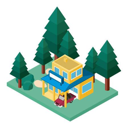 building and car scene isometric vector illustration design Illustration
